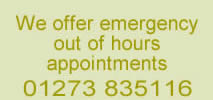 Emergency appointments call 01273 835116